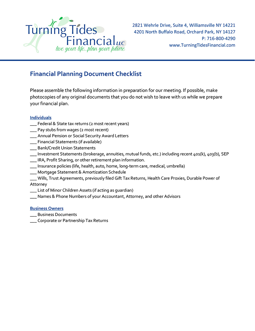microsoft word financial planning document checklist pending k